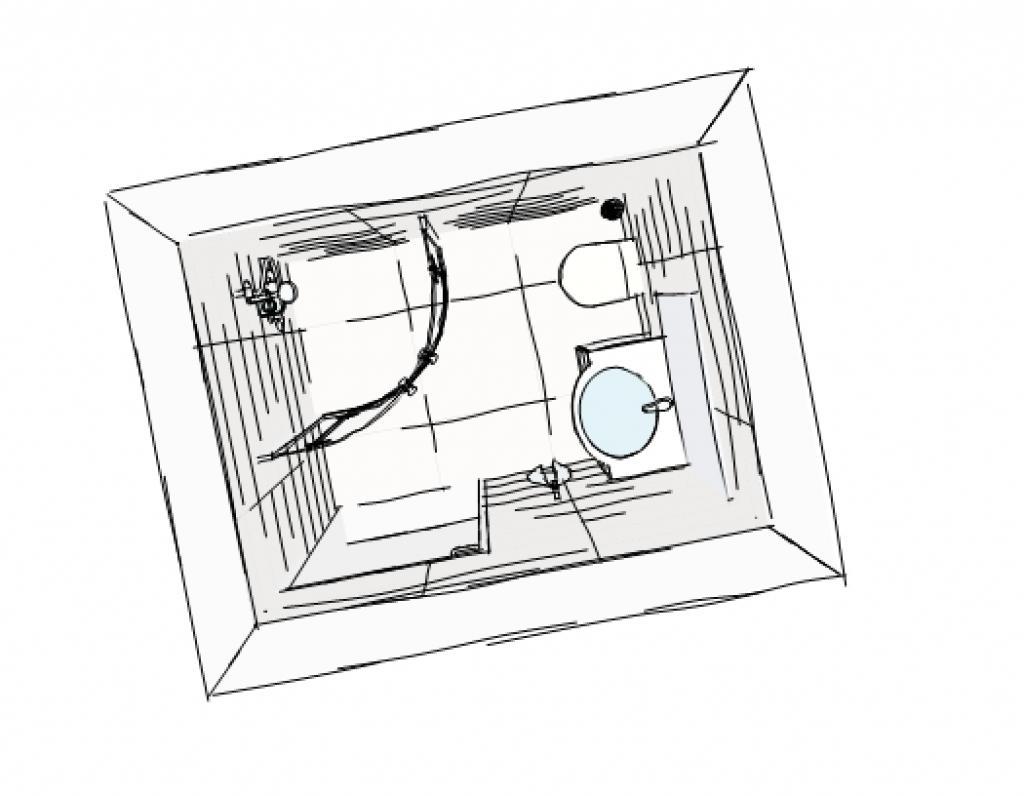Vi ska flytta på dörren till toaletten. I bilden ovan står vi i dörröppningen och fotar rakt fram, i den här skissen så är handfatet där toaletten är på den bilden. Och dessutom ska vi ha ett duschhörn med väggar som går att vika in mot väggen så att det blir större utrymme när man inte använder duschen.